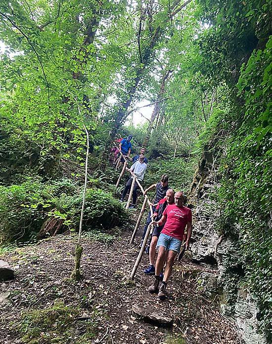Groupe de randonneurs en Corrèze en forêt